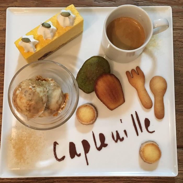 フランス発のスイーツ、カフェ・グルマンは東京千駄木のケープルヴィルでお出ししています。カフェ・グルマンの秋バージョンはかぼちゃを使ったもの。人気です。