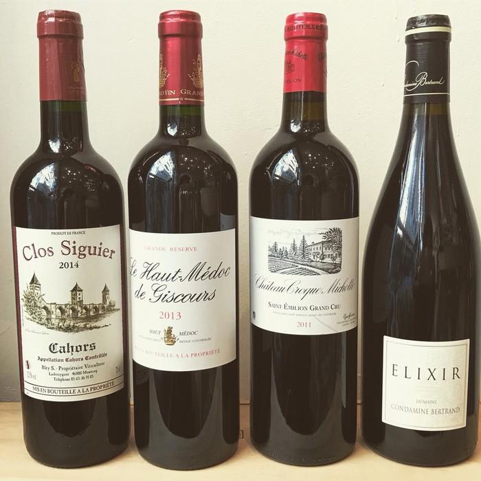 ボルドーワイン、有機ワイン、南西地方カオールの黒ワインなどをテイスティング
