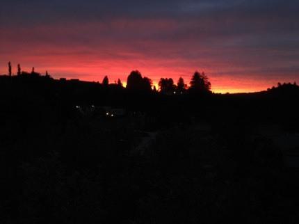 NZの大自然。サンセットは空と地平線の境界線が真っ赤に染まる。美しい自然の風景写真。