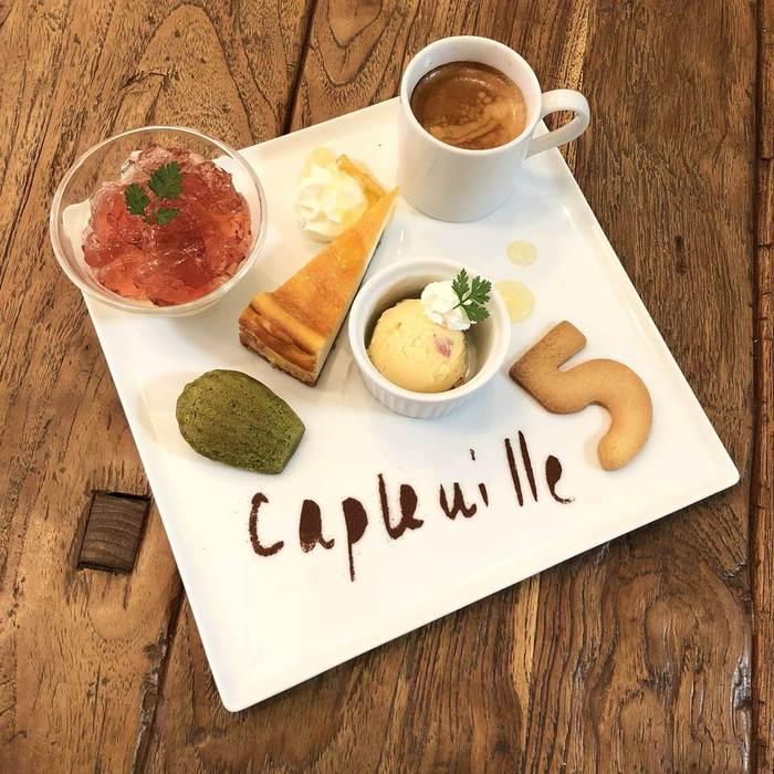 ケープルヴィルの人気スイーツメニュー、カフェグルマン。チーズケーキやゼリーがはいって涼しげに。