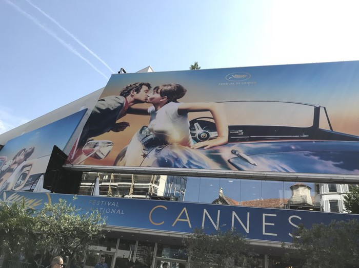 カンヌ映画祭のポスター。今年はジャンリュックゴダールの70年代の映画のワンシーンから。