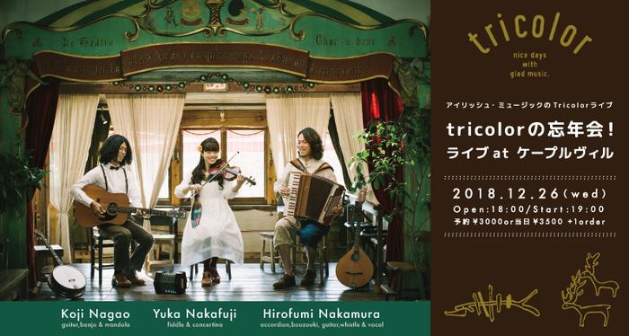 中村大史、中藤有花、長尾広司のアイリッシュ音楽ユニット、「tricolor」(トリコロール)が贈る年忘れライブが東京・文京区千駄木のケープルヴィルで。