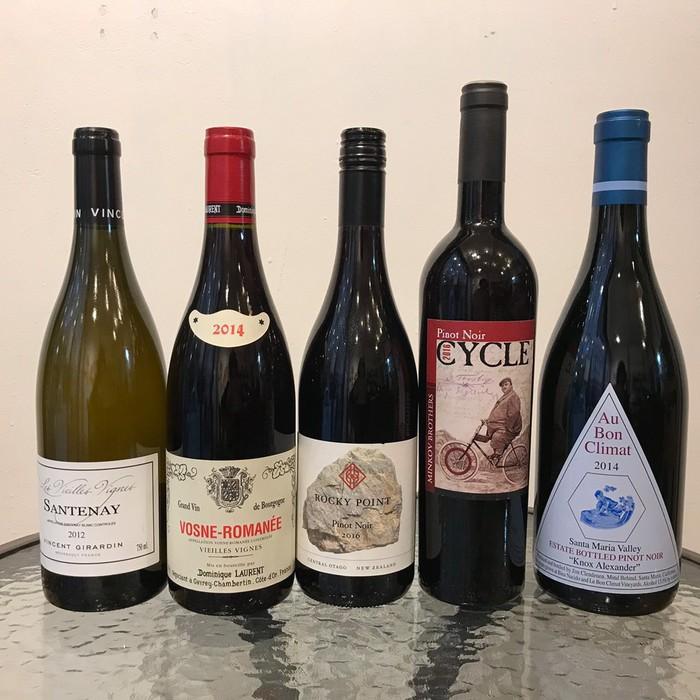 ワイン会のワインはカリフォルニア、フランス・ブルゴーニュ、ニュージーランドのセントラル・オタゴから。